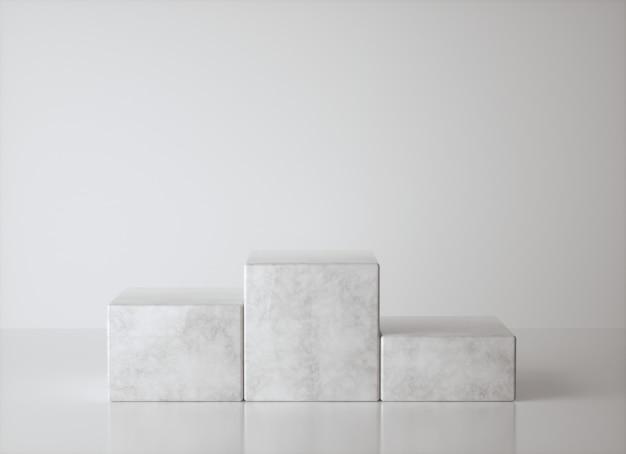 Podio del vincitore del mockup, minimalismo astratto e marmo realistico, rendering 3d