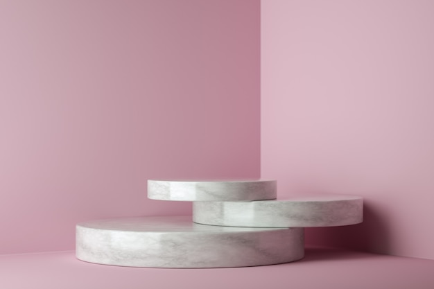 Podio del vincitore del mockup, minimalismo astratto e marmo realistico con sfondo rosa, rendering 3d