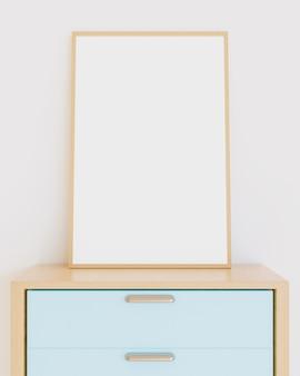 Mockup di cornice in legno che si appoggia su mobili per camerette con colori pastello