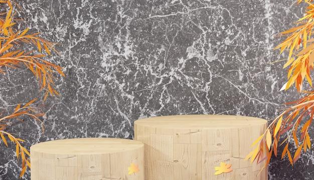 Mockup espositore da podio in legno per prodotti da esposizione e foglie d'arancio con rendering 3d in marmo nero