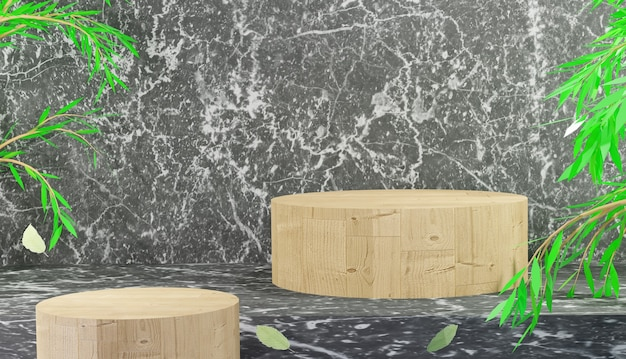 Espositore da podio in legno mockup per prodotto da esposizione con rendering 3d in marmo nero foto premium