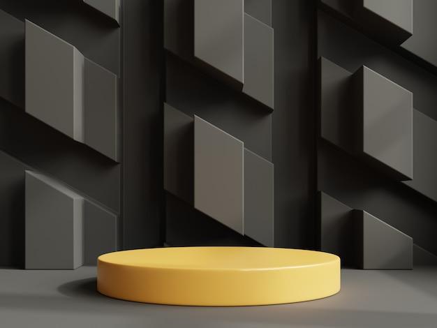 Mockup di un podio giallo con una presentazione del prodotto. rendering 3d