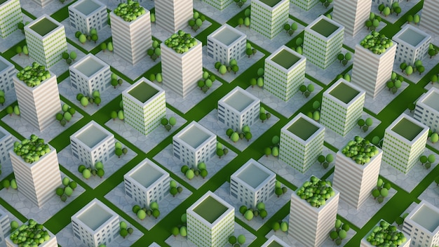 Modello di città con edifici residenziali. rendering 3d, illustrazione 3d.