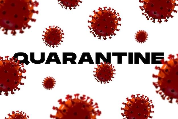 Modello di covid-19 in parola quarantena su sfondo bianco, concetto di diffusione della pandemia, virus 2020, medicina, assistenza sanitaria. epidemia mondiale, quarantena e isolamento, protezione. copyspace.