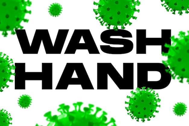 Modello di covid-19 in parole lavare le mani su sfondo bianco, concetto di diffusione della pandemia, virus 2020, medicina, assistenza sanitaria. epidemia mondiale, quarantena e isolamento, protezione. copyspace. Foto Premium