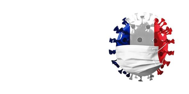 Modello di coronavirus covid19 colorato nella bandiera nazionale della francia nel concetto di maschera facciale