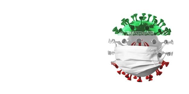 Modello di coronavirus covid19 colorato nella bandiera nazionale dell'iran nella maschera facciale