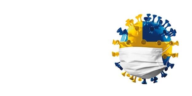 Modello di coronavirus covid19 colorato nella bandiera nazionale della norvegia nel concetto di maschera facciale di