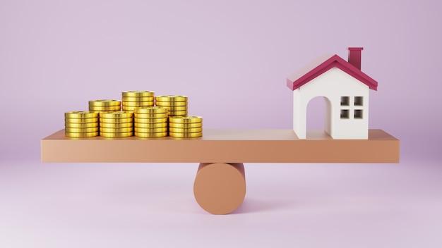 Modello di casa e monete di denaro in equilibrio su un'altalena con monete di impilamento denaro