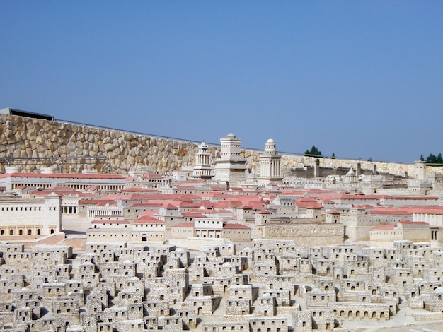 Modello della città vecchia. museo di gerusalemme. israele.
