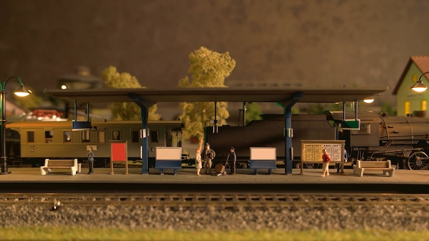 Modello di stazione ferroviaria retrò.