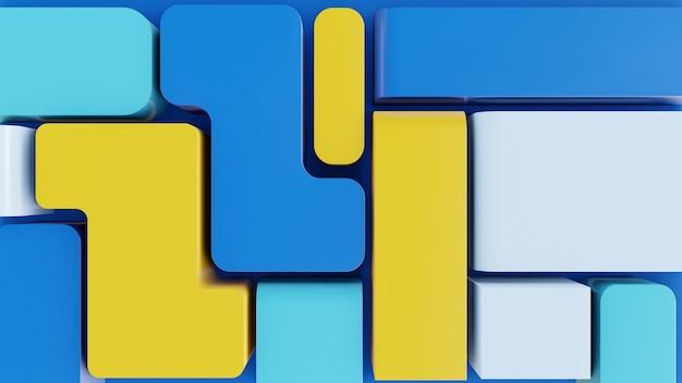 Moderno astratto 3d forme di sfondo con colore blu e giallo