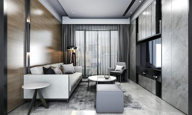 Moderno appartamento e soggiorno e parete in legno texture di sfondo interior design