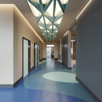 Interni di architettura moderna con hall, rendering 3d