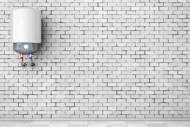Scaldabagno automatico moderno davanti al muro di mattoni. rendering 3d.