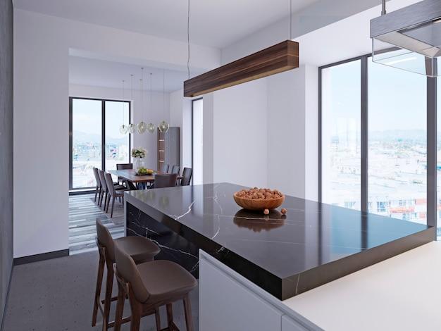 Bancone bar moderno in cucina contemporanea con zona pranzo e grandi finestre panoramiche. rendering 3d.