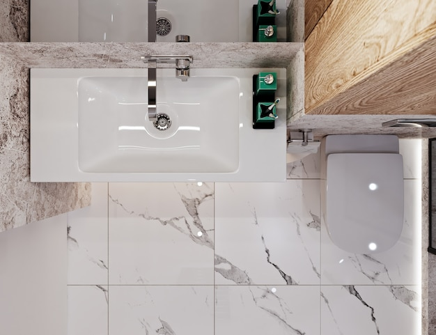 Bagno dal design moderno con piastrelle sotto cemento e marmo