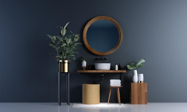 Interior design moderno del bagno e fondo concreto blu della parete di struttura