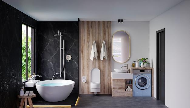 Design degli interni del bagno moderno sulla parete di colore scuro, rendering 3d