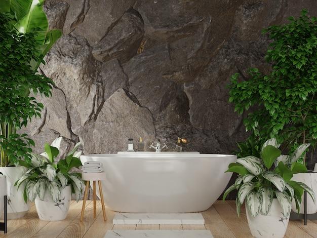 Il design moderno degli interni del bagno ha una parete posteriore di rocce scure, rendering 3d