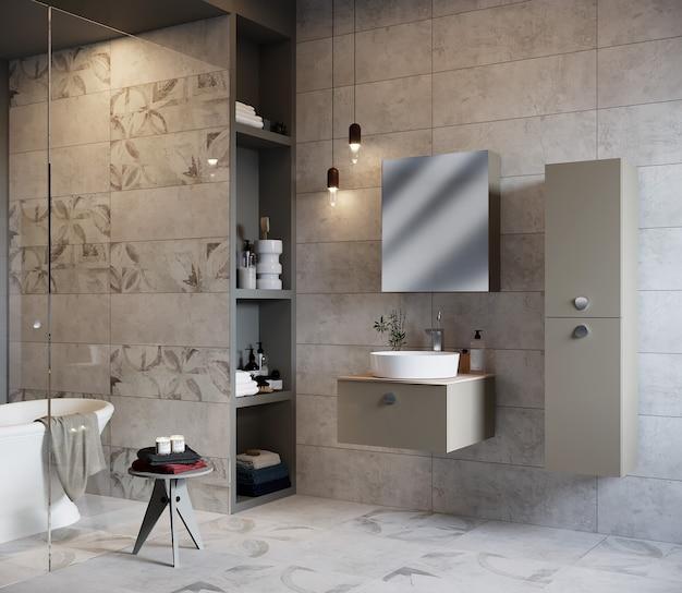 Interno del bagno moderno con vasca da bagno, armadietto e specchio, rendering 3d