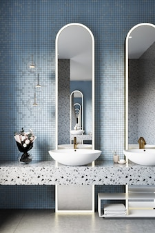Interno del bagno moderno con una parete piastrellata blu e uno specchio rotondo. rendering 3d.
