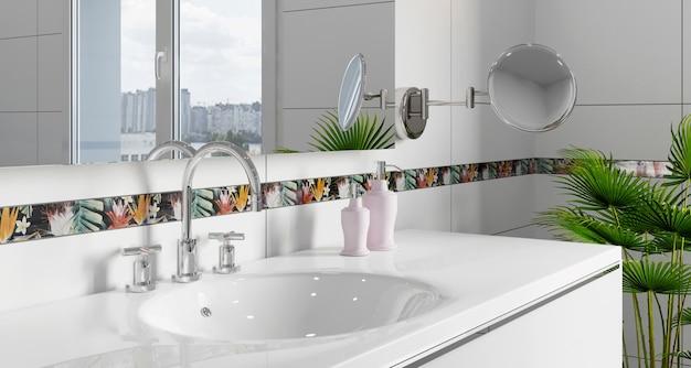 Interno del bagno moderno con pareti bianche e lavandino e ampia finestra. piastrelle decorative con motivo tropicale. rendering 3d.