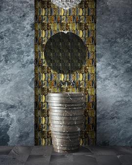 Bagno moderno. vanità e specchio in un interno costoso.
