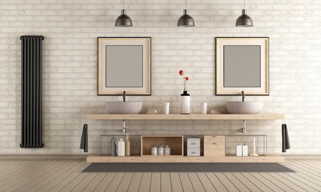 Bagno moderno con mobili in legno, doppio lavabo e stufa nera sul muro di mattoni. rendering 3d