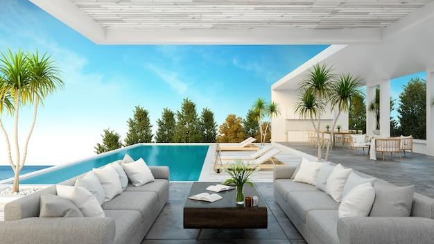 Una moderna casa sulla spiaggia, piscina privata Foto Premium