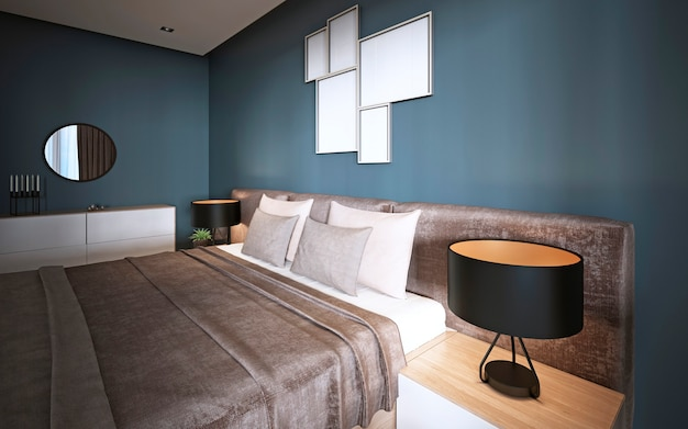 Un letto moderno con una testiera morbida con un comodino, una lampada e vasi di fiori vicino. rappresentazione 3d.