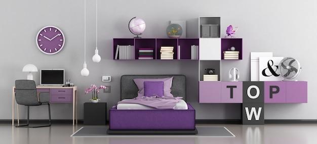 Camera da letto moderna per ragazza