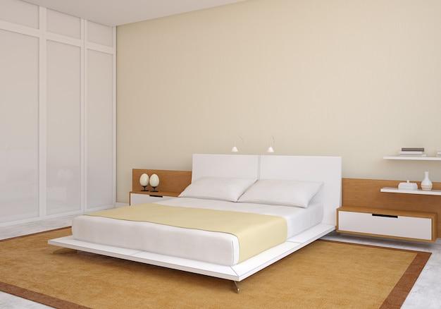 Interno camera da letto moderna. rendering 3d.