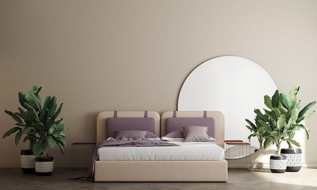 Interior design della camera da letto moderna e priorità bassa beige della parete di struttura