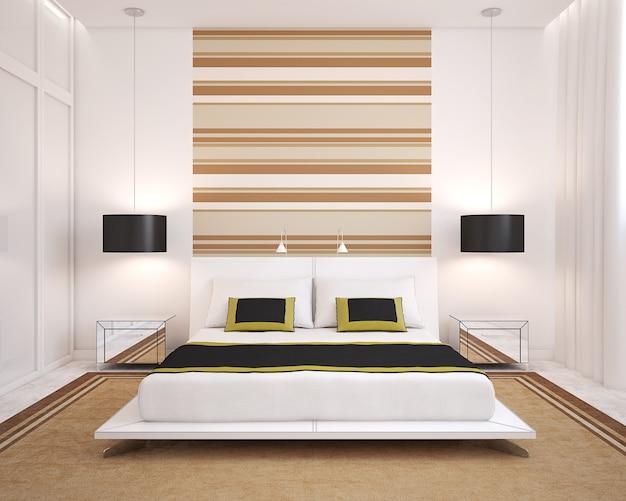 Interno camera da letto moderna. vista frontale. rendering 3d.