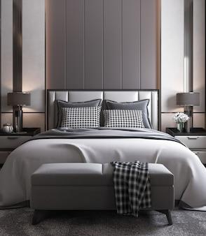 Interno camera da letto moderna mock up, letto grigio su sfondo muro scuro vuoto, stile scandinavo, rendering 3d