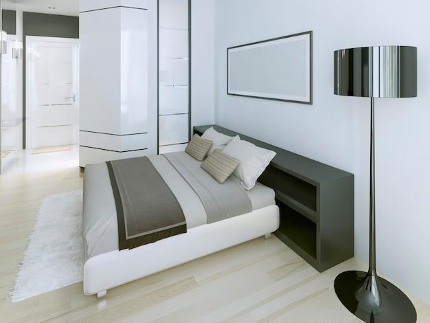 Camera da letto moderna in appartamento di lusso
