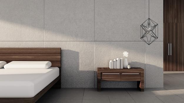 Camera da letto moderna con il sole luminoso di mattina / l'interno della rappresentazione 3d