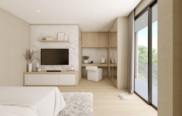Camera da letto moderna con mobili e pavimento in legno chiaro