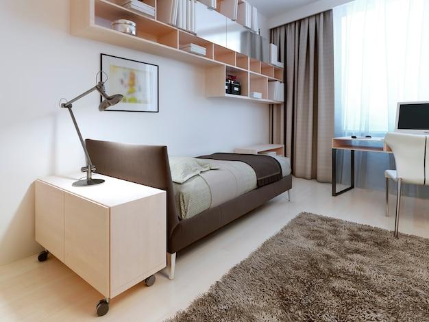 Camera da letto moderna con pareti bianche.