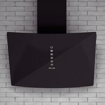 Cappa nera moderna davanti al muro di mattoni