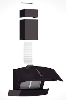 Moderna cappa da cucina nera su sfondo bianco