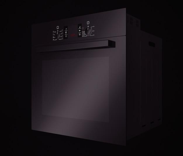 Forno elettrico nero moderno su sfondo nero. rendering 3d