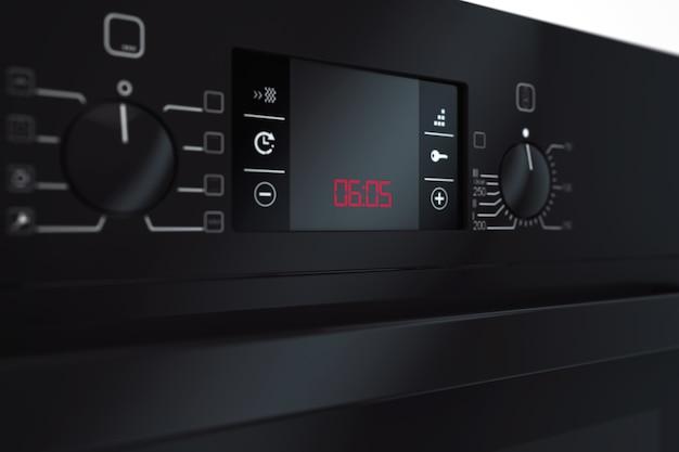 Primo piano estremo del forno elettrico nero moderno. rendering 3d