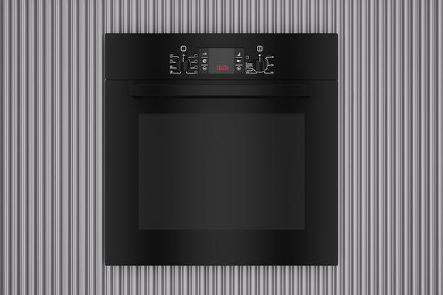 Forno elettrico nero moderno davanti al primo piano estremo del fondo ondulato di metallo cromato. rendering 3d