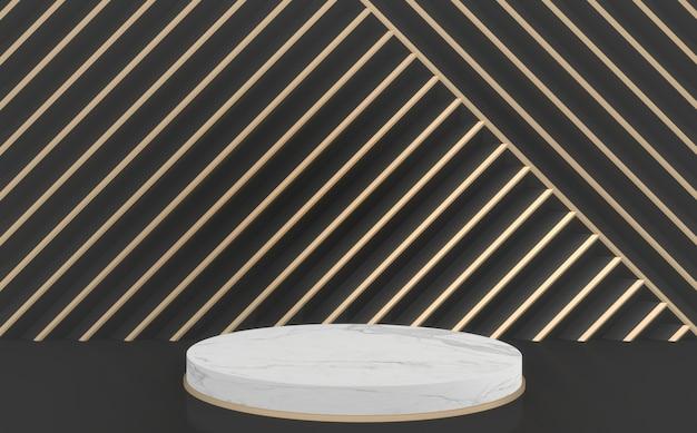 Sfondo moderno nero e oro e podio cerchio bianco. rendering 3d