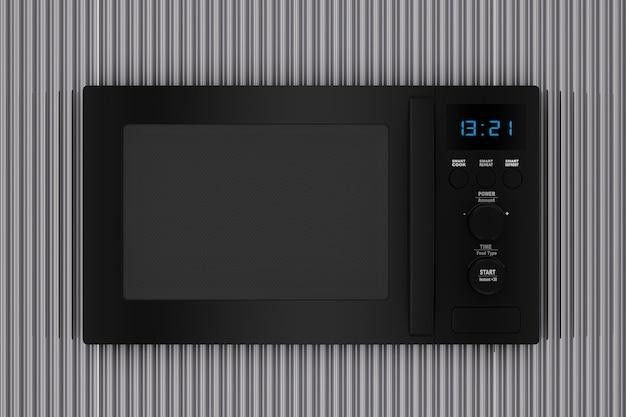 Forno a microonde nero moderno davanti al primo piano estremo del fondo ondulato di metallo cromato. rendering 3d
