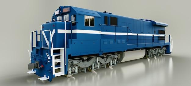 Moderna locomotiva ferroviaria diesel blu con grande potenza e resistenza per lo spostamento di treni ferroviari lunghi e pesanti. rendering 3d.