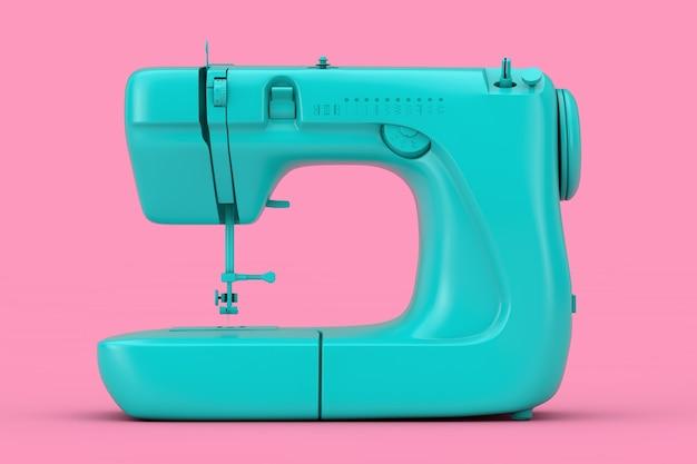 Moderna macchina da cucire blu duotone su sfondo rosa. rendering 3d