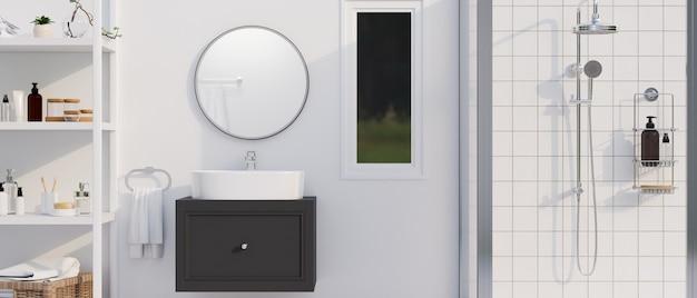 Interno moderno e minimalista luminoso del bagno con l'armadietto rotondo dello specchio con il rendering 3d del lavandino della nave